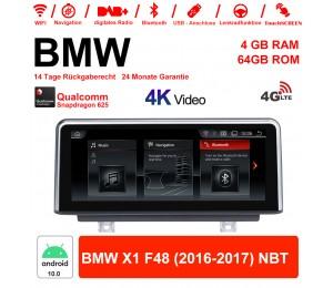 10.25 Zoll Qualcomm Snapdragon 625 (MSM8953) 8 Core Android 10.0 4G LTE Autoradio / Multimedia 4GB RAM 64GB ROM Für BMW X1 F48 2016-2017 NBT Mit WiFi NAVI Bluetooth USB