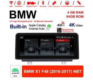 10.25 Zoll Qualcomm Snapdragon 625 (MSM8953) 8 Core Android 10.0 4G LTE Autoradio / Multimedia WiFi USB Carplay Für BMW X1 F48 2016-2017 NBT