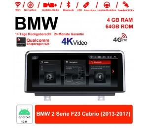 10.25 Zoll Qualcomm Snapdragon 625 (MSM8953) 8 Core Android 10.0 4G LTE Autoradio / Multimedia 4GB RAM 64GB ROM Für BMW 2 Serie F23 Cabrio 2013-2017 Mit WiFi NAVI Bluetooth USB