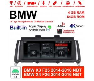 8.8 Zoll Qualcomm Snapdragon 625 8 Core Android 10.0 4G LTE Autoradio / Multimedia BMW X3 F25 2014-2016 NBT BMW X4 F26 2014-2016 NBT