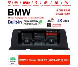10.25 Zoll Qualcomm Snapdragon 625 8 Core Android 10.0 4G LTE Autoradio / Multimedia WiFi NAVI USB Carplay Für BMW 6 Serie F06 F12 2010-2012 CIC