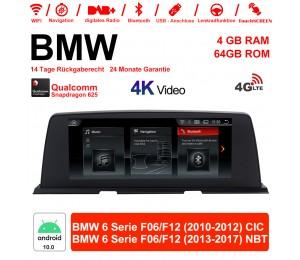 10.25 Zoll Qualcomm Snapdragon 625 (MSM8953) 8 Core Android 10.0 4G LTE Autoradio / Multimedia 4GB RAM 64GB ROM Für BMW 6 Serie F06 F12 2010-2017 Mit WiFi NAVI Bluetooth USB