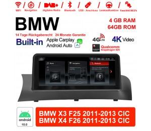 10.25 Zoll Qualcomm Snapdragon 625 8 Core Android 10.0 4G LTE Autoradio / Multimedia USB WiFi Navi Carplay Für BMW X3/X4 F25/26 (2011-2013) CIC