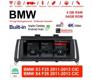 8.8 Zoll Qualcomm Snapdragon 625 8 Core Android 10.0 4G LTE Autoradio / Multimedia USB WiFi NAVI Carplay Für BMW X3/X4 F25/26 (2011-2013) CIC