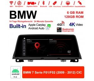 10.25 Zoll Qualcomm Snapdragon 662 8 Core Android 11.0 4G LTE Autoradio / Multimedia USB WiFi Navi Carplay Für BMW 7 Series F01 F02 (2009-2012) CIC