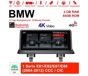 10.25 Zoll Qualcomm Snapdragon 625 (MSM8953) 8 Core Android 10.0 4G LTE Autoradio / Multimedia 4GB RAM 64GB ROM Für BMW 1 Serie E81/E82/E87/E88 2004-2012 Mit WiFi NAVI Bluetooth USB