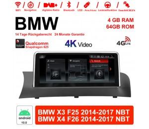 10.25 Zoll Qualcomm Snapdragon 625 (MSM8953) 8 Core Android 10.0 4G LTE Autoradio / Multimedia 4GB RAM 64GB ROM Für BMW X3/X4 F25/26 (2014-2016) NBT Mit WiFi NAVI Bluetooth USB