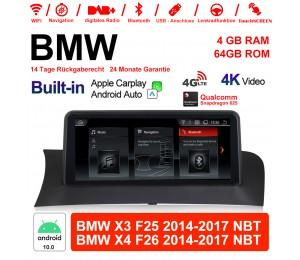 10.25 Zoll Qualcomm Snapdragon 625 8 Core Android 10.0 4G LTE Autoradio/Multimedia USB WiFi Navi Carplay Für BMW X3/X4 F25/26 NBT