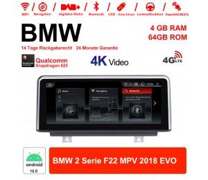 8.8 Zoll Qualcomm Snapdragon 625 (MSM8953) 8 Core Android 10.0 4G LTE Autoradio / Multimedia 4GB RAM 64GB ROM Für BMW 2 Serie F22 MPV 2018 Mit WiFi NAVI Bluetooth USB