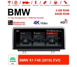 10.25 Zoll Qualcomm Snapdragon 625 (MSM8953) 8 Core Android 10.0 4G LTE Autoradio / Multimedia 4GB RAM 64GB ROM Für BMW X1 F48 (2018) EVO Mit WiFi NAVI Bluetooth USB