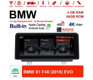 10.25 Zoll Qualcomm Snapdragon 625 8 Core Android 10.0 4G LTE Autoradio / Multimedia WiFi NAVI USB Carplay Für BMW X1 F48 (2018) EVO