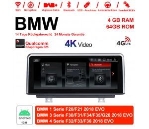 10.25 Zoll Qualcomm Snapdragon 625 (MSM8953) 8 Core Android 10.0 4G LTE Autoradio / Multimedia 4GB RAM 64GB ROM Für BMW 1 Serie F20/F21 3 Serie F30/F31/F34/F35/G20 4 Serie F32/F33/F36 Mit WiFi NAVI Bluetooth USB