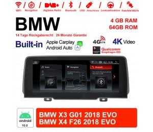 10.25 Zoll Qualcomm Snapdragon 625 8 Core Android 10.0 4G LTE Autoradio / Multimedia USB WiFi NAVI CarPlay Für BMW X3 G01 X4 F26 2018 EVO
