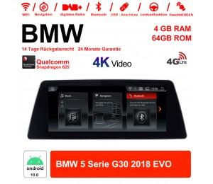10.25 Zoll Qualcomm Snapdragon 625 (MSM8953) 8 Core Android 10.0 4G LTE Autoradio / Multimedia 4GB RAM 64GB ROM Für BMW 5 Serie G30 2018 EVO Mit WiFi NAVI Bluetooth USB