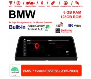 10.25 Zoll Qualcomm Snapdragon 662 8 Core Android 11.0 4G LTE Autoradio / Multimedia 6GB RAM 128GB ROM USB WiFi Carplay Für BMW 7 Series E65/E66