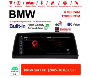 10.25 Zoll Qualcomm Snapdragon 662 8 Core Android 11.0 4G LTE Autoradio / Multimedia USB WiFi Navi Carplay Für BMW 5 Series E60 (2005-2010) CCC