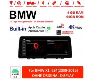 12.3 Zoll Qualcomm Snapdragon 625 8 Core Android 10.0 4G LTE Autoradio / Multimedia USB WiFi Navi Carplay Für BMW X1 E84(2009-2015)