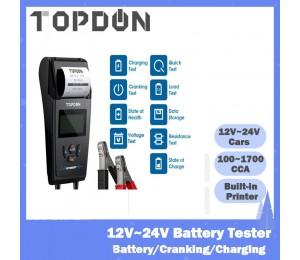 TOPDON BT500P 12V 24V Auto Batterie Tester mit Drucker Batterie Last Test für Motorrad Auto Lade Ankurbeln Batterie analysator