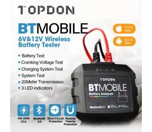 TOPDON Drahtlose Auto Batterie Tester 12V Bluetooth Batterie Monitor 100 zu 2000CCA Auto Ladegerät Ankurbeln Auto Batterie Analyzer Werkzeug