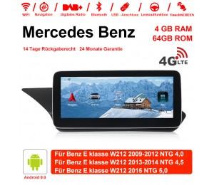 10,25 Zoll Android 9.0 Autoradio/Multimedia 4GB RAM 64GB ROM verbaute 4G LTE Für Mercedes Benz E Klasse W212 e200 E230 E260 2009-2015 Mit WiFi NAVI Bluetooth USB...