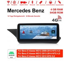 10,25 Zoll Android 10.0 Autoradio/Multimedia 4GB RAM 64GB ROM verbaute 4G LTE Für Mercedes Benz E Klasse W212 e200 E230 E260 2009-2015 Mit WiFi NAVI Bluetooth USB...