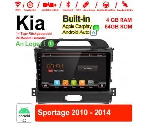 9 Zoll Android 10.0 Autoradio / Multimedia 4GB RAM 64GB ROM Für Kia Sportage 2010-2014 MIT Navi Bluetooth WIFI Built-in Carplay Android Auto