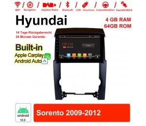 10 Zoll Android 10.0 Autoradio / Multimedia 4GB RAM 64GB ROM Für Hyundai Sorento 2009-2012 MIT Navi Bluetooth WIFI Built-in Carplay Android Auto