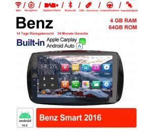 9 Zoll Android 10.0 Autoradio / Multimedia 4GB RAM 64GB ROM Für Benz Smart 2016 Mit DSP Built-in Carplay Android Auto