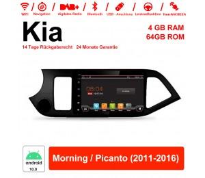 8 Zoll Android 10.0 Autoradio / Multimedia 4GB RAM 64GB ROM Für Kia Morning / Picanto 2011-2016 Mit WiFi NAVI Bluetooth USB