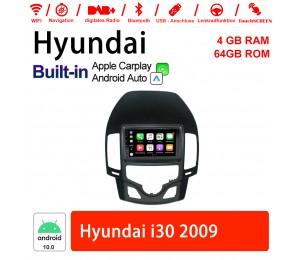 9 Zoll Android 10.0 Autoradio / Multimedia 4GB RAM 64GB ROM Für Hyundai i30 2009 Built-in Carplay