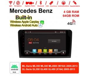9 Zoll Android 10.0 Autoradio / Multimedia 4GB RAM 64GB ROM Für BENZ ML350 ML300 ML4500 W164 GL350 GL400 GL450 Mit DSP Built-in Carplay Android Auto