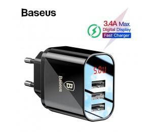 Baseus Digital Display Lade USB Ladegerät für Samsung / Xiaomi Telefon Ladegerät 3.4A Max