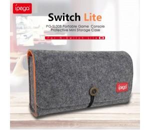 ipega PG-SL008 Switch Lite Host Kleine graue Wolf-Aufbewahrungstasche mit Spielkartensteckplatz Doppelte Aufbewahrungstasche für Switch Lite