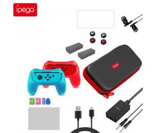 ipega PG-9182 18 in 1 Joy-con-Spielekarte Aufbewahrungstasche Griff Griffgriffabdeckung 3D Wippenabdeckung mit Kopfhörer Passend für Nintendo Switch
