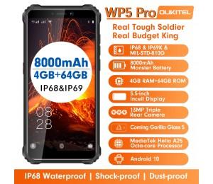 OUKITEL WP5 Pro IP68 Wasserdichtes Smartphone 4 GB RAM + 64 GB ROM 8000 mAh Android 10 13MP Dreifachkamera 5,5 Zoll Mobiltelefon