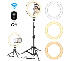 Dimmbares LED Selfie Ringlicht mit Stativ USB Selfie Licht Ringlampe Big Photography Ringlicht mit Ständer für Tiktok Youtube