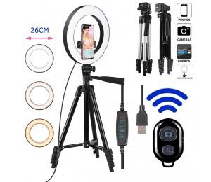 26cm Foto Ringlicht LED Selfie Ringlicht Telefon Bluetooth Remote Lampe Fotografie Beleuchtung Stativhalter Youtube Video