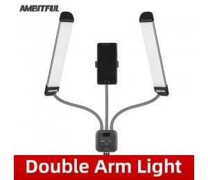 AMBITFUL AL-20 3000K-6000K 40W Doppelarme füllen LED-Licht mit langen Streifen und LCD-Bildschirm für die Live-Übertragung
