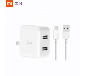 Xiaomi ZMI QC3.0 USB Dual Port Schnelle Ladegerät Set + 1 mt Typ-C Ladekabel Tragbare Wand Ladegerät adapter Für Telefon Tablet PC