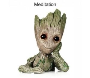 Meditation Baum Mann Blumen Topf Puppe Modell Schreibtisch Ornament Geschenk Spielzeug