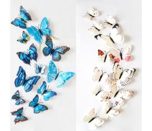 12pcs Stickers 3D Butterfly Bunte Doppelschichten Wandaufkleber Art Decoration