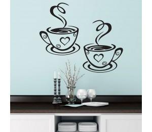 Doppel Kaffee Tassen Wand Aufkleber Schöne Design tee Tassen Raum Dekoration