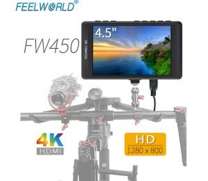 """Feelworld FW450 4,5"""" IPS 4K HDMI Kamera-Feldmonitor 1280x800 HD Tragbarer LCD-Monitor für DSLR mit Peaking Focus Check Field"""