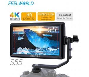 FEELWORLD S55 5,5 Zoll IPS auf Kamera Feld Monitor DSLR Focus Assist 1280x720 Unterstützung 4K HDMI Eingang DC Ausgang Umfassen Tilt Arm
