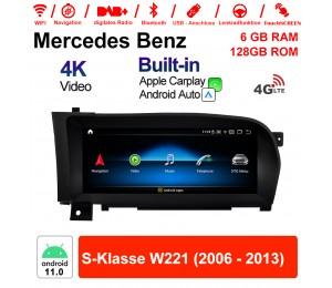 10.25 Zoll Qualcomm Snapdragon 662 8 Core Android 11.0 4G LTE Autoradio / Multimedia 6GB RAM 128GB ROM Für Benz S-Klasse W221 2006 - 2013 Mit WiFi NAVI Bluetooth USB Built-in CarPlay Android Auto