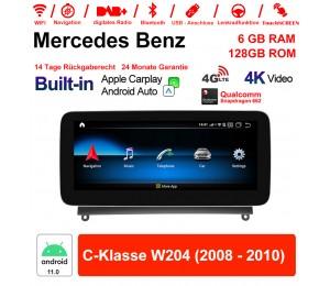 10.25 Zoll Snapdragon 662 8 Core Android 11.0 4G LTE Autoradio / Multimedia 6GB RAM 128GB ROM Für Benz C-Klasse W204 2008 - 2010 Built-in CarPlay