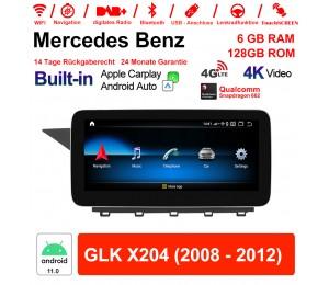 10.25 Zoll Snapdragon 662 8 Core Android 11.0 4G LTE Autoradio / Multimedia 6GB RAM 128GB ROM Für Benz GLK X204 2008 - 2012 Built-in CarPlay