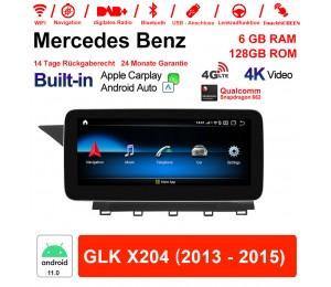 10.25 Zoll Snapdragon 662 8 Core Android 11.0 4G LTE Autoradio / Multimedia 6GB RAM 128GB ROM Für Benz GLK X204 2013 - 2015 Built-in CarPlay