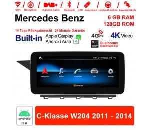 10.25 Zoll Snapdragon 662 8 Core Android 11.0 4G LTE Autoradio / Multimedia 6GB RAM 128GB ROM Für Benz C-Klasse W204 2011 - 2014 Built-in CarPlay