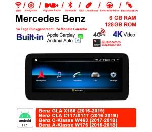 "10.25"" Qualcomm Snapdragon 662 Android 11.0 4G LTE Autoradio/Multimedia 6GB RAM 128GB ROM Für Benz GLA X156 CLA C117/X117 C-Klasse W463 A-Klasse W176"